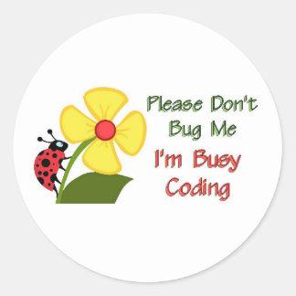 Lady Bug Coding Classic Round Sticker
