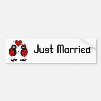 Lady Bug Couple Just Married Bumper Sticker