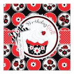 Lady Bug Cupcake Birthday Card