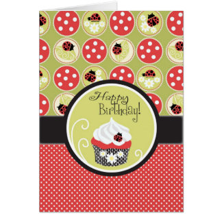 Lady Bug & Cupcake Birthday Card