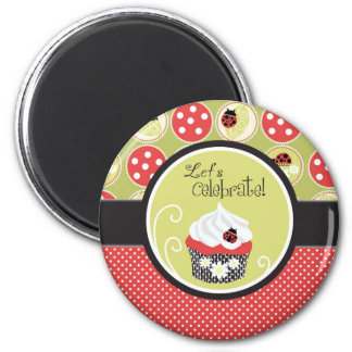 Lady Bug & Cupcake Birthday 2 Inch Round Magnet