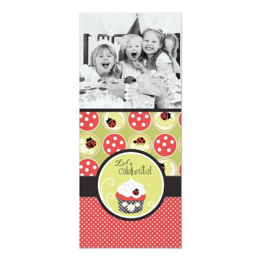 Lady Bug & Cupcake Birthday Photo Template Card