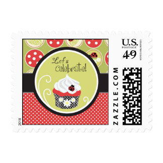 Lady Bug & Cupcake Birthday Postage Stamp