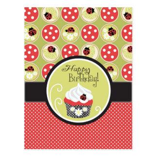 Lady Bug Cupcake Birthday Postcards