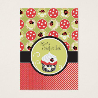 Lady Bug & Cupcake Birthday Reminder Card