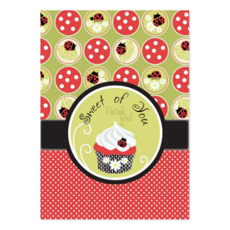 Lady Bug & Cupcake Thank You Gift Tag Large Business Card