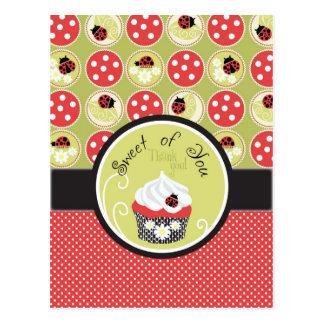 Lady Bug Cupcake Thank You Postcards