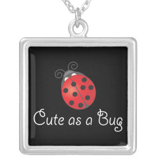 Lady Bug - Cute as a Bug Square Pendant Necklace