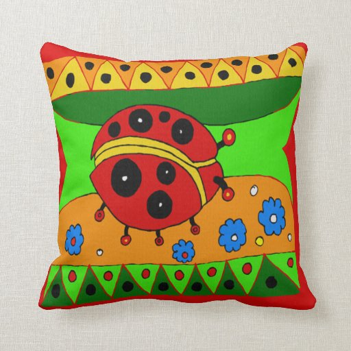 LADY BUG  DESIGN ACCENT   PILLOW