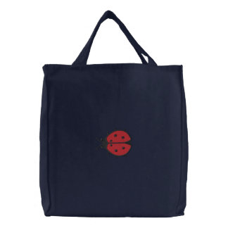 Lady Bug Embroidered Tote Bag