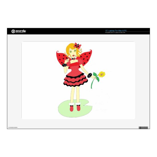 "Lady Bug Fairy 15"" Laptop Decal"
