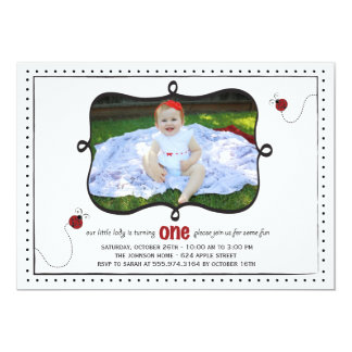 Lady Bug First Birthday Party Invitation -card-