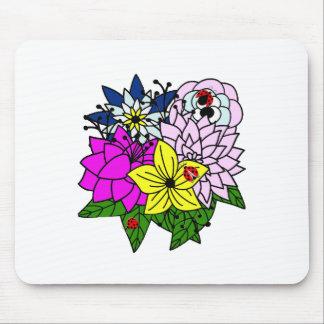 Lady Bug Flower Bouquet Mouse Pad