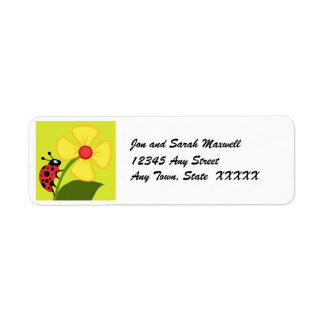 Lady Bug Flower Return Address Label