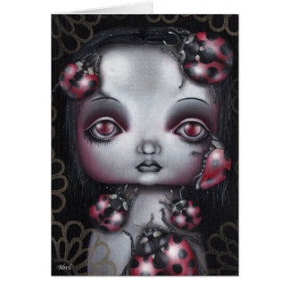 Lady bug Girl Note Card