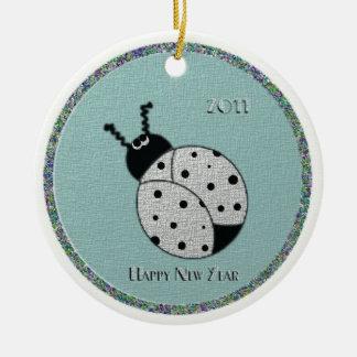 lady bug Happy New Year 2011 Ceramic Ornament