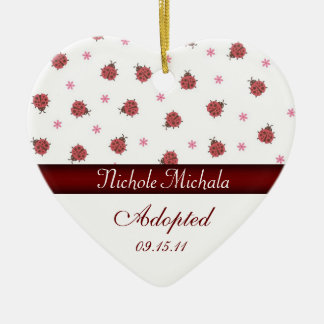 Lady Bug Heart Adoption Announcement Ceramic Ornament