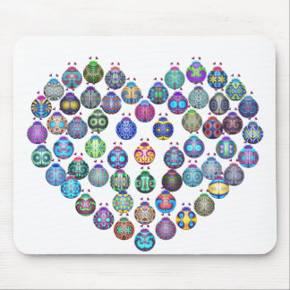 Lady Bug Heart Mouse Pads