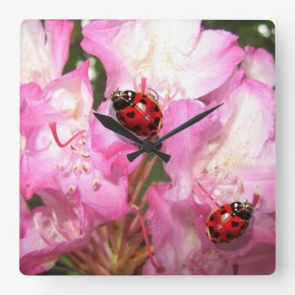 Lady bug heart spot pink floral clock