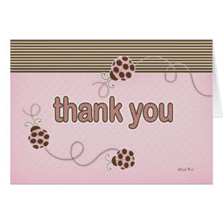 Lady Bug in Pink Thank You Card