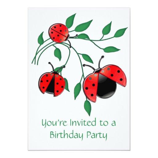 Lady Bug, Lady Bugs Birthday Party 5x7 Paper Invitation Card