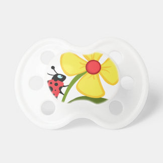 Lady Bug on Yellow Flower Pacifiers