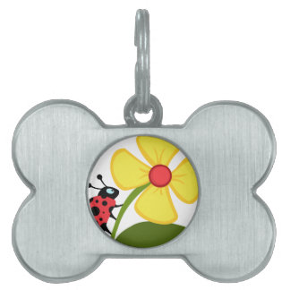 Lady Bug on Yellow Flower Pet Name Tags