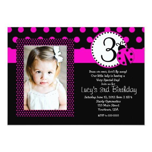 Lady Bug Party Birthday Invitation