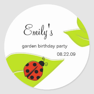 Lady Bug Party Label Classic Round Sticker