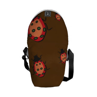 lady bug pattern brown courier bag