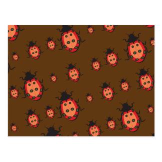 lady bug pattern brown post card