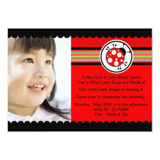 "Lady bug - Photo birthday invitation 5"" X 7"" Invitation Card"