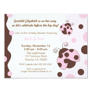 Lady Bug Pink & Brown Personalized Announcement