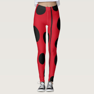 Lady Bug Red and Black Design Leggings