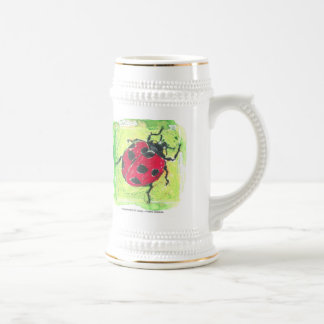 lady bug red on a beer stein