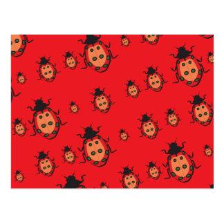 lady bug red postcard