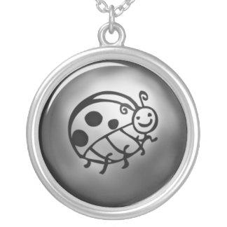 Lady Bug Round Pendant Necklace