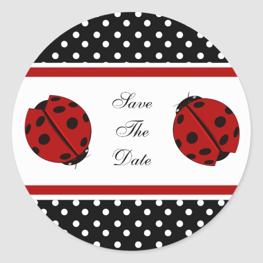 Lady Bug Save The Date Stickers