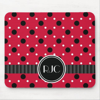 Lady Bug Spots Red Black and White Personalized Mouse Pad