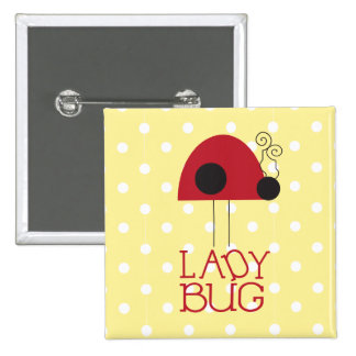 Lady Bug Square Button