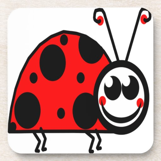 lady bug waiting for true love beverage coaster