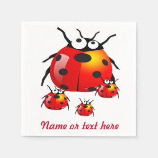 lady bug with baby ladybugs paper napkin