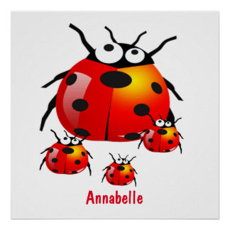 lady bug with baby ladybugs poster