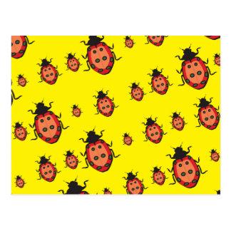 lady bug yellow postcards