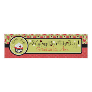 Lady Bugs and Cupcake Birthday Banner Poster