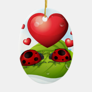 Lady bugs and heart ceramic ornament