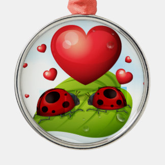 Lady bugs and heart metal ornament