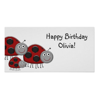 Lady Bugs Birthday Party Banner Posters