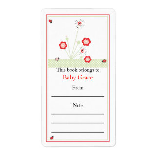 Lady Bugs Bookplate Label