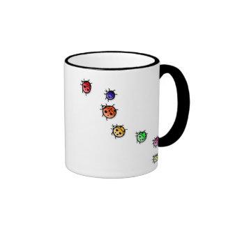 lady bugs ringer coffee mug